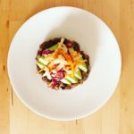 Black Bean Burger with Spicy Cabbage Slaw