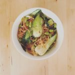 Sesame Rice Noodles with Bok Choy and Edamame