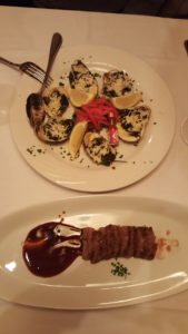 wagyu beef and oysters for post-run dinner