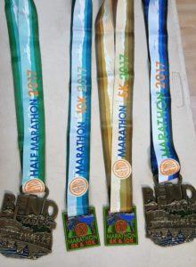 Bend half marathon and marathon medals